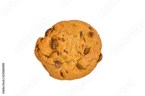 Tuinposter Koekjes Fresh chocolate chip cookie isolated on white background