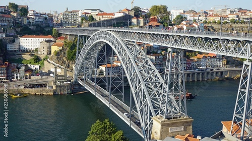 Keuken foto achterwand Bruggen douro river in porto with dom luis bridge and houses