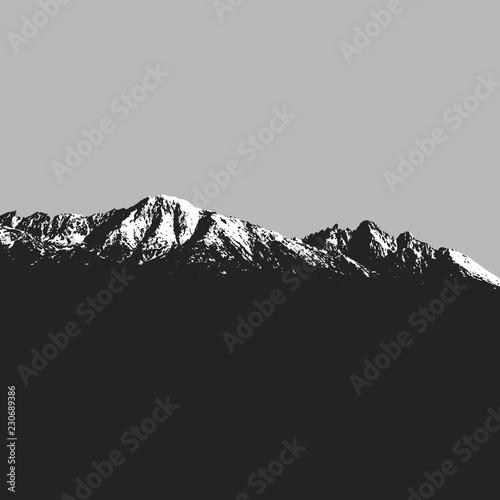Spoed Foto op Canvas Grijze traf. Mountains landscape on grey background