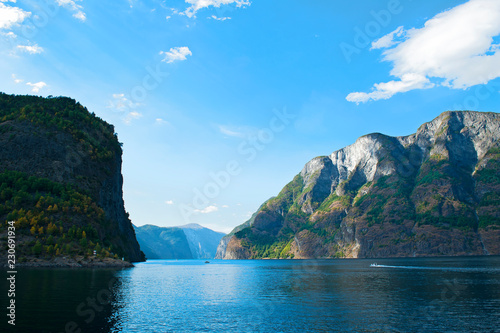 Staande foto Asia land The Breathtaking Norwegian Aurlandsfjord and Naeroyfjord - UNESCO protected fjord - cruise from Flam to Gudvangen on Norway in a Nutshell Tour.