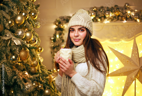 Fotografie, Obraz  Girl in warm clothes drinking cup coffee at home in New Year's decor