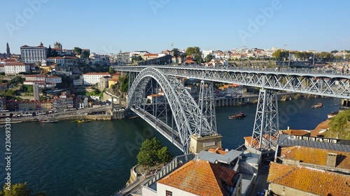 Keuken foto achterwand Bruggen douro river in porto with dom luis bridge and houses