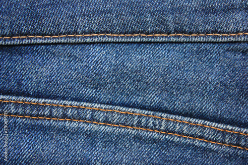 e6fb33423e7 Blue Jeans Detail with Seam Close Up View. Classic Fashion Denim Blue Jeans  Texture with Borders of Many Seams. Empty Dark Blue Denim Background of  Classic ...