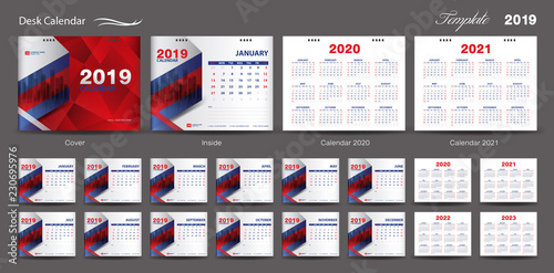 Fotografia  Set Desk Calendar 2019 template design vector, Calendar 2020,2021, 2022, 2023, c