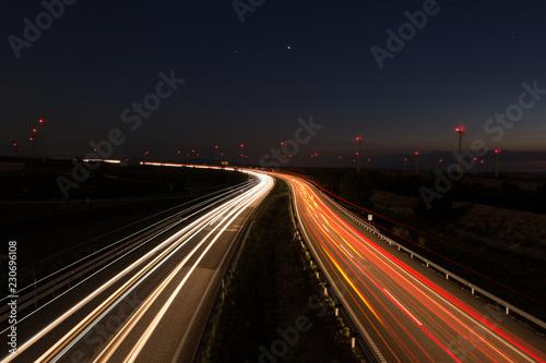 Foto op Canvas Nacht snelweg carretera por la noche con coches