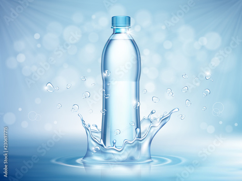 Fotografía  Pure mineral water, plastic bottle in the middle and flying water drop elements on blue background