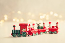 Christmas Background With Miniature Toys With Wither Scenes, Seasonal Christmas, New Year And Winter Decorations