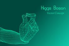 Vector God Particle Concept - Emblem Of Higgs Boson, Subatomic Level, Particle Physics, Quantum Mechanics Etc