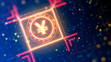 Yuan Currency Sign On A Abstract Digital Background. Financial Hi-tech Theme Background. 3d Graphic Wih Bokeh And Neon Lights