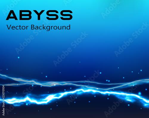 Deep Blue Abyss Vector - Vector Bosom of Sea - Abstract Deserted Uninhabited Oce Canvas Print