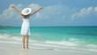 Hispanic Girl Walking Outdoors Tropical Beach