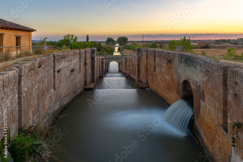 Poster Channel Locks of Canal de Castilla in Fromista, Palencia province, Spain