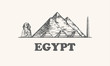 Egypt skyline, vintage vector illustration, hand drawn egypt, on white background.