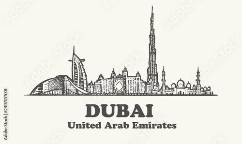 Fotografie, Obraz  Arab Emirates Dubai skyline hand drawn. Dubai vector illustration