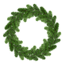 A Large Wreath Of Fir Branches. Isolated On White Without A Shadow. Round Green Wreath. Natural Decor. Holidays. Traditions.