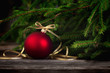 canvas print picture - Christmas Background with Red Christmas Tree ornament ball