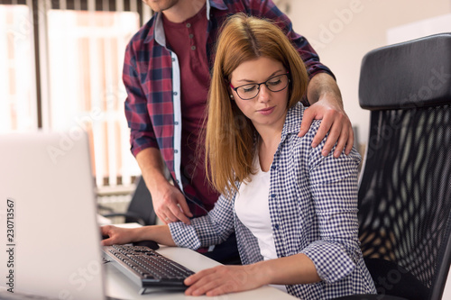 Fototapeta Woman being sexually harassed at work obraz