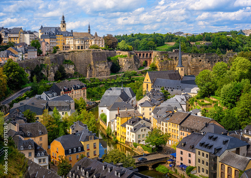 Ingelijste posters Europa Luxembourg city, view of the Old Town and Grund