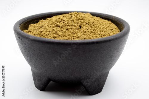 Fotografie, Obraz  Bulk Maeng Da Kratom powder in black bowl on white background