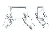 Hands Hold Smartphone And Tablet, Vector Sketch Illustration. Mobile Phone Empty Screen. Business Communications Concept