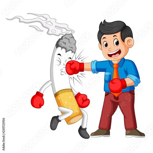 Fotografie, Obraz  bussinesman boxing with a cigarette