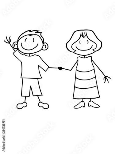Junge Mann Parchen Paar Liebe Verliebt Team 2 Freunde Geschwister