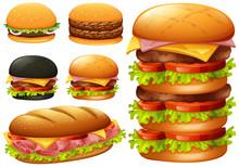 A Set Of Hamburger On White Ba...