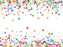 Rainbow Stars Confetti Vector Magic Cosmic Garland. Magic Christmas Lights, Gamour Sparkles, Glitter For Birthday Party Celebration. New Year Holiday Falling Down Stars Confetti, Festival Fireworks.