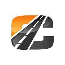 C Letter Road Construction Creative Symbol Layout. Paving Logo Design Concept. Asphalt Repair Company Sign Idea