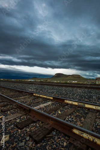 Railroad Tracks and Storm Clouds Near Hazen, Nevada, USA