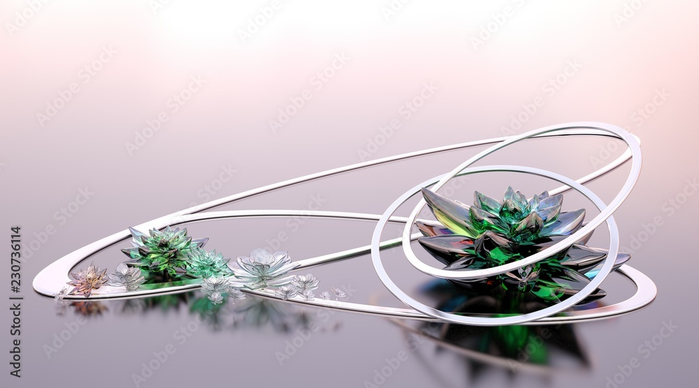 Abstract composition with glass succulents and metal shapes on a blurred background. 3D illustration
