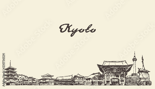 Kyoto skyline, Japan vector city drawn sketch