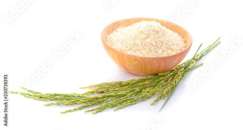Fotografie, Obraz  organic paddy rice,ear of paddy, ears of Thai jasmine rice isolated on white bac