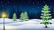Cartoon Of Winter Night Backgr...
