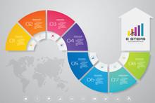 8 Steps Of Arrow Infografics Template. For Your Presentation. EPS 10.
