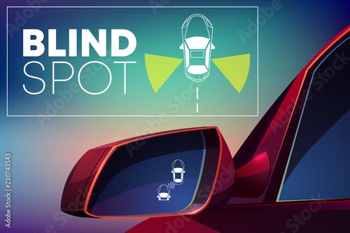 Blind spot assist cartoon vector concept Canvas Print