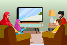 Muslim Family Watching TV At Home Illustration