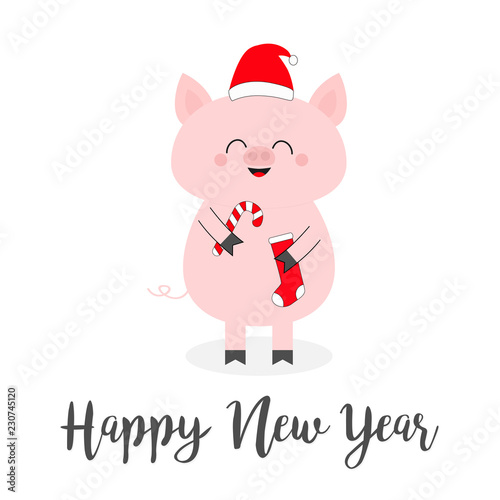 happy new year 2019 pig holding candy cane sock red santa claus hat