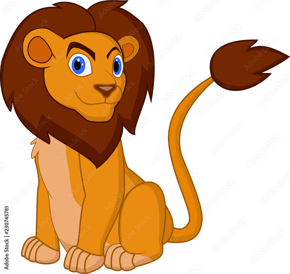 Fototapeta cartoon lion pose