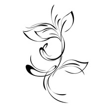 One Sprig With Leaves In Smooth Lines On White Background