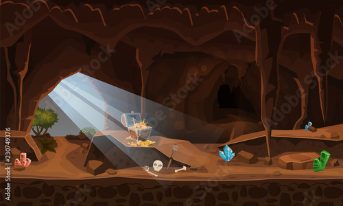 Garden Poster Fantasy Landscape Treasure cave with chest gold coins, gems. Concept, art for computer game. Background image to use games, apps, banners, graphics. Vector cartoon illustration