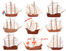 Flat Vector Set Of Old Wooden Ships. Large Marine Vessels With Sails And Flags. Sea And Ocean Theme