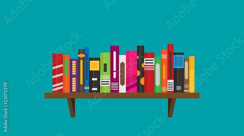 Flat bookshelf. Vector icon, illustration. Modern design