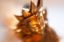 Close Up Photo Of Unknown Goddess Statue. Old Rusty Metal Sculpture Captured With Lens Baby Sweet 35mm.