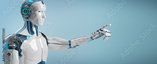 White male cyborg pointing his finger 3D rendering Wallpaper Mural