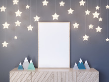 Interior Wall Mock Up With Poster, Paper Stars, Pillows And Blue Clouds On White Wall Background, 3D Rendering, 3D Illustration