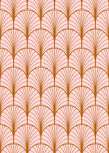 Art Deco Geometric Seamless Vector Pattern. Gold And Dusty Pink Peacock Abstract Feathers Texture.
