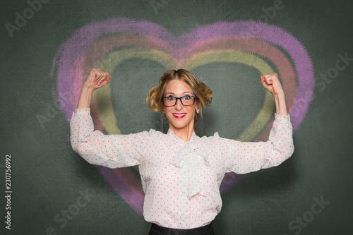 Fotografie, Obraz  Life coach showing confidence, self help, high self esteem, proud, love yourself