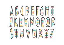 Vector Trendy Alphabet In Ethn...