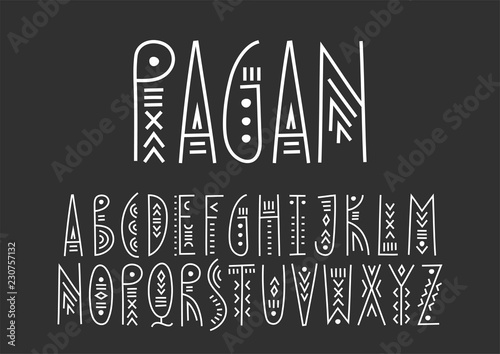 La pose en embrasure Style Boho Vector trendy alphabet in ethnic line art style. For hipster design, music posters.